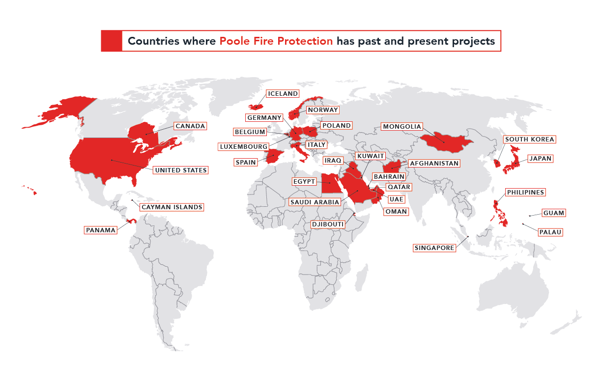 Poole Fire Protection World Map
